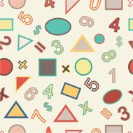 Seamless vector of numbers and geometric shapes in vintage style