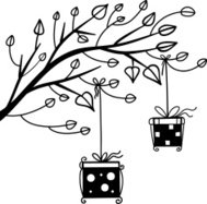 Gifts on the tree black silhouette of a cartoon illustration