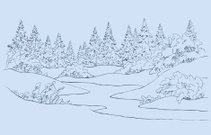 Vector landscape. A river in winter forest