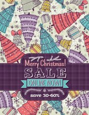 background with christmas trees and sale label offer