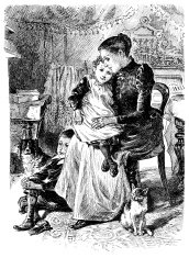 Victorian mother and children at home