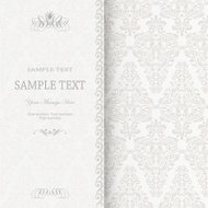 Wedding card or invitation with classic damask pattern