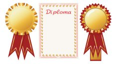 Diploma and badges