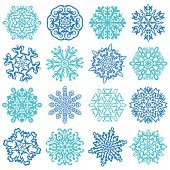 Snowflake Vectors. Set of 16 isolated elements on white background.