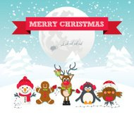 Cute Christmas Characters in a Winter Wonderland Snow Scene