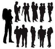 Silhouettes of parents with baby