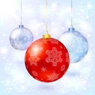 Red vector glass Christmas balls with snowflakes