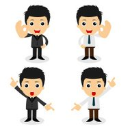 set of cute characters businessman and office worker