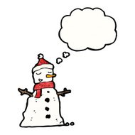 cartoon snowman with thought bubble