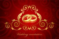 Vector red and gold wedding invitation