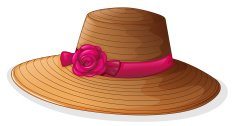brown hat with a pink ribbon