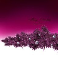 Background with fir branches and metallic balls.