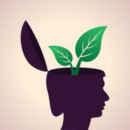 Thinking concept-Human head with leaf icon