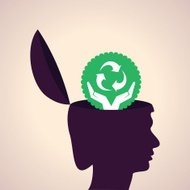 Thinking concept-Human head with recycle symbol