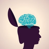 Thinking concept-Human head with brain