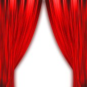 Two red curtains isolated on white