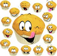 muffin cartoon with many expression
