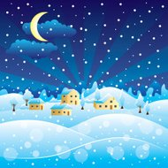 Winter rural landscape with Christmas snowfall