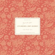 Coral wedding card with vintage flower bouquets carnations and c