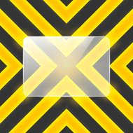 Vector glass banner on black and yellow stripes