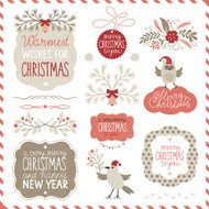 Set of Christmas graphic elements and lettering