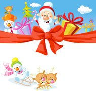 Christmas design with Santa Claus, gifts and xmas tree