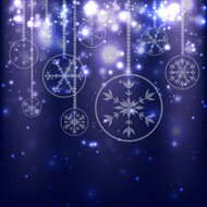 Abstract Christmas Balls on Blue Background