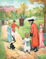 Nineteenth century people in a London park