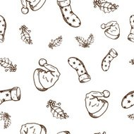 Seamless pattern of Christmas and New year objects