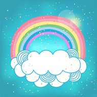 Card with rainbow and cloud.