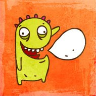 Monster With Speech Bubble on Grunge Background