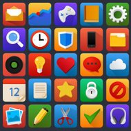 Vector icon set. Multimedia, mobile, software.