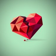 Broken heart consisting of triangles with pieces