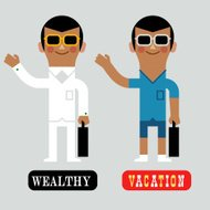 Infographic Wealthy Vacation Man