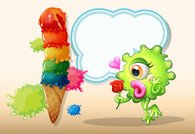 monster holding a rose while standing near the giant icecream