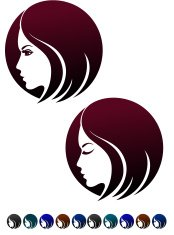 Female profile, symbol of  hairstyles