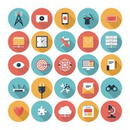 Set de 25 iconos multicolores de SEO y web en blanco