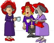Ladies wearing red hats