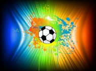 Abstract ink background with soccer ball. Vector