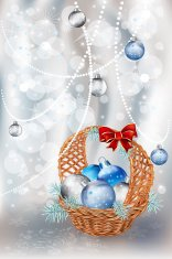 Christmas basket of silver background