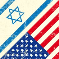 Israel and american grunge flag
