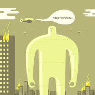 Happy Birthday forever giant robot helicopter city burning illus