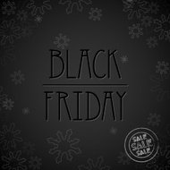 Black Friday Sale, dark background, label, poster with snowflake