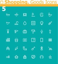 Shopping. Home and garden objects icon set