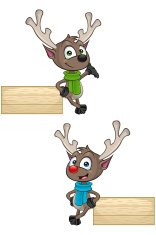 Cartoon Reindeer - Leaning On Wooden Sign