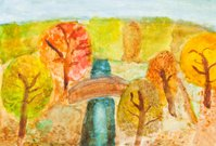 children drawing - river in autumn forest