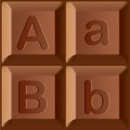 Vector stylized alphabet. Characters printed on blocks of chocol