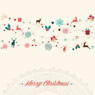 Merry Christmas card ghirlanda d'epoca