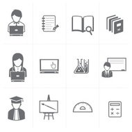 education and student icons set