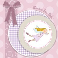 baby girl shower card with little fairy